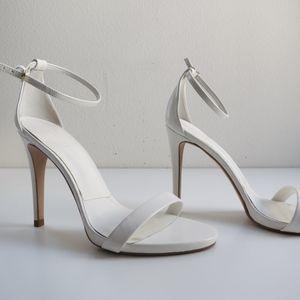 Zara white patent leather strappy sandal heels